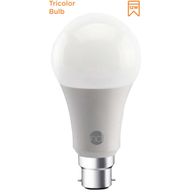 INDIGO TRI-COLOURED BULB 12W B22